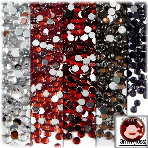 The Crafts Outlet 5-Pack Set (5X - 1,440-Piece), Round 3mm Rhinestones, Flatback, Red Tones 2