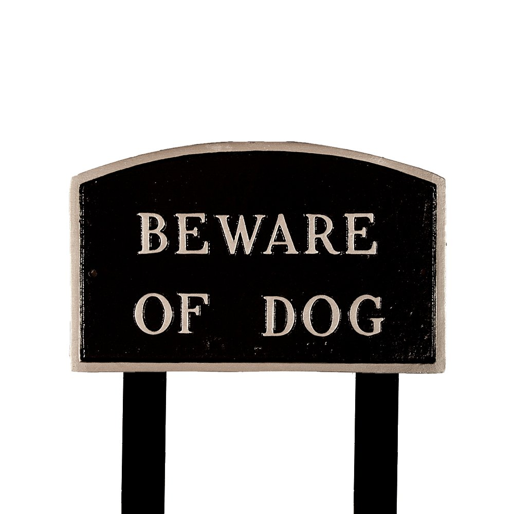 Montague Metal Products SP-4L-BS-LS Large Black and Silver Beware of Dog Arch Statement Plaque with 2 23-Inch Lawn Stake