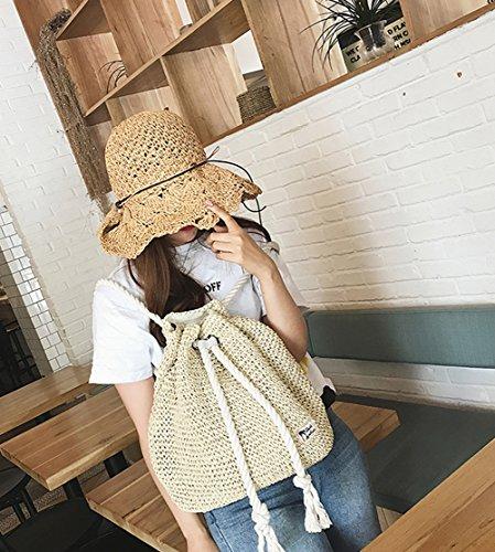 Fashion Straw Campus Beige Beach Shoulder Purse Tonwhar Bag Backpack RTqx5TA