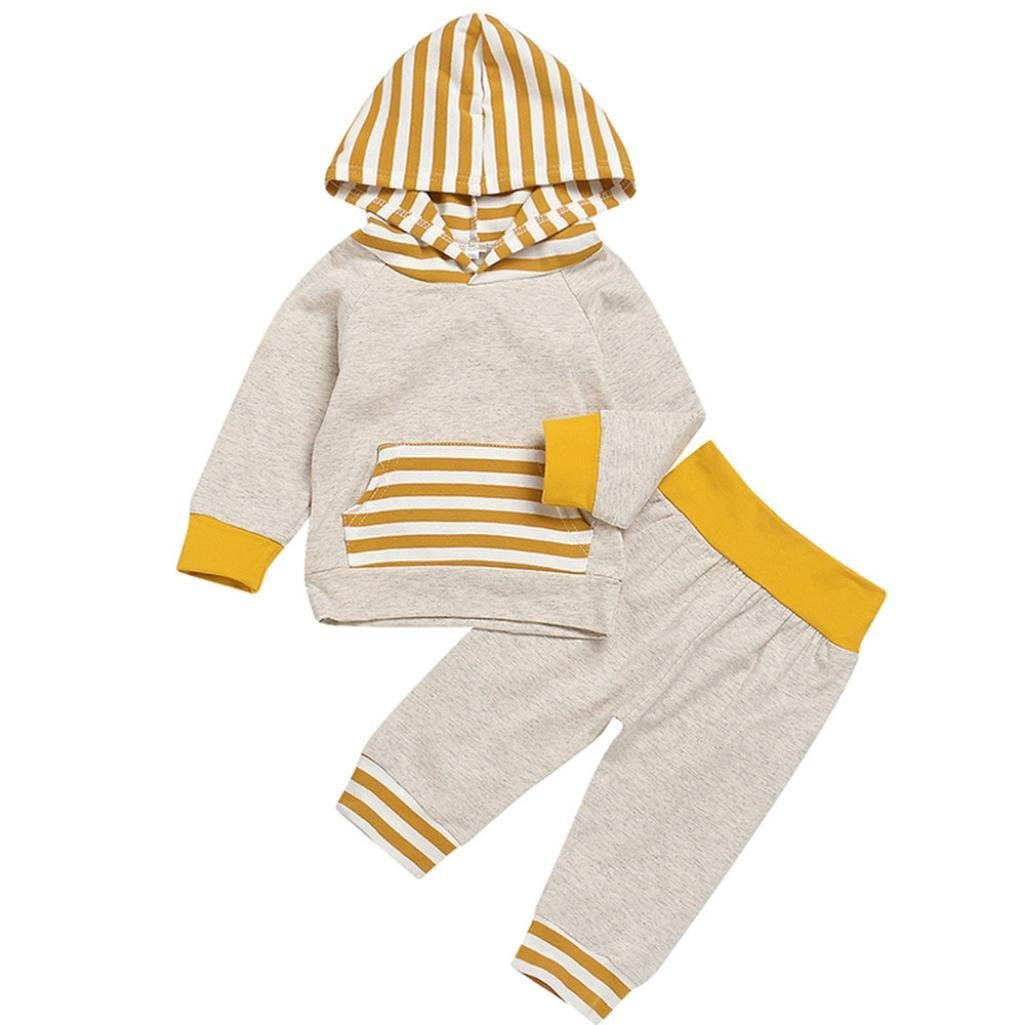 Jchen(TM) Hot Sales! Infant Baby Boys Girls Long Sleeve Striped Hooded Tops Pants Outfits Set for 0-24 Months (Age: 12-18 Months)