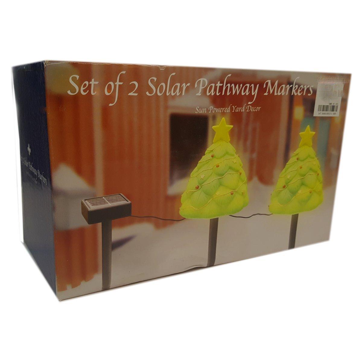 Set of 2 Solar Christmas Tree Pathway Markers Sun Powered Yard DÃcor