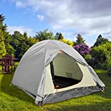 Cheap Professional Folding 2 Person Water Resistant Camping Tent Portable Light-weight Backpacking Tent With Carrying Bag (Gray)