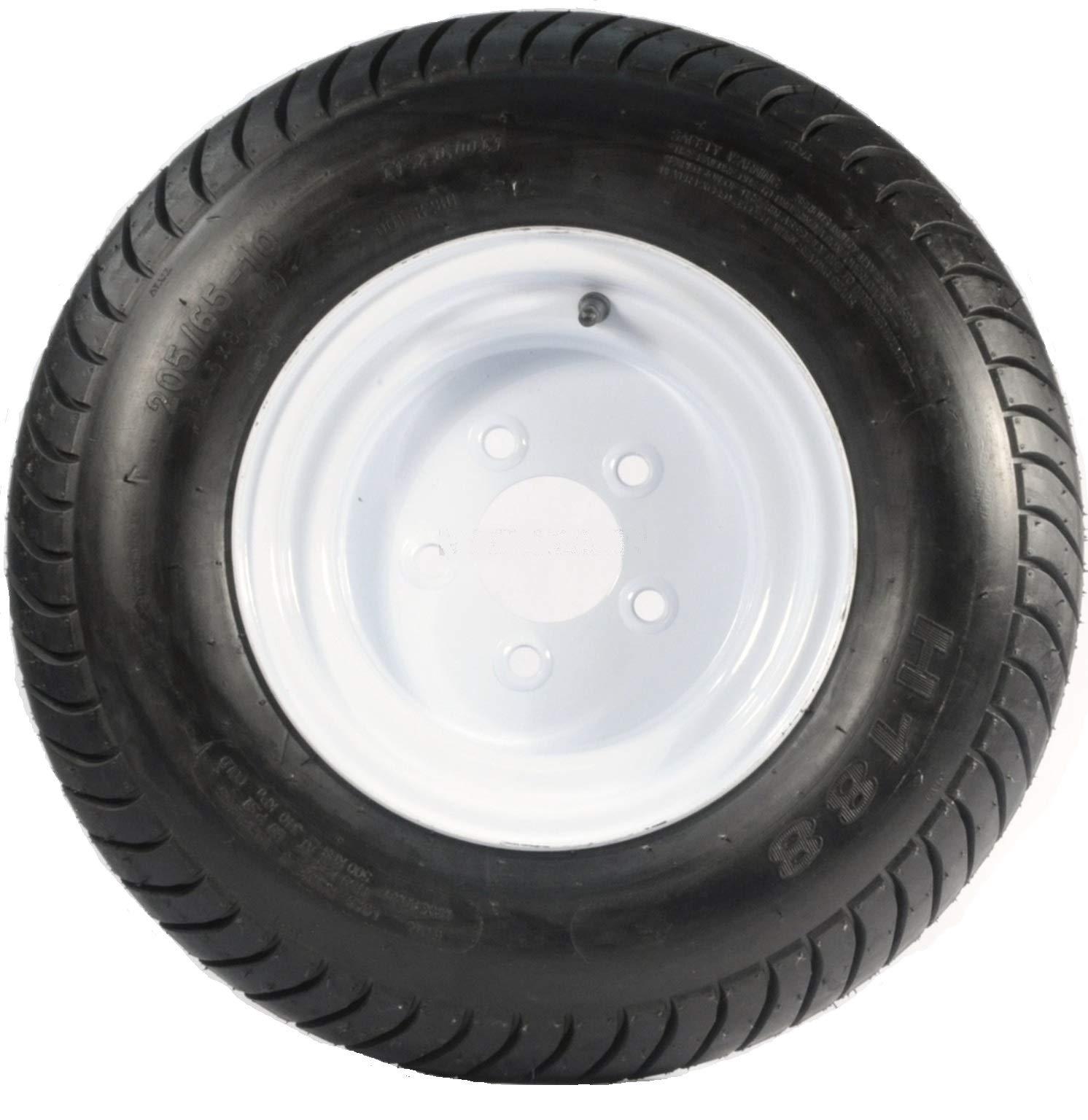 Kenda Loadstar 205/65-10 LRE 10 PR Bias Trailer Tire on 10'' 5 Lug White Steel Trailer Wheel by Kenda Loadstar