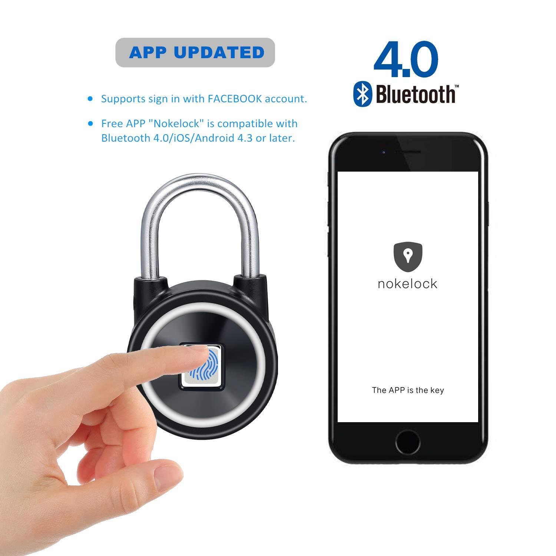 Candado Uervoton con huellas dactilares, bloqueo Bluetooth de segunda generación, bloqueo inteligente y de acceso rápido sin llave para Android e iOS, ...