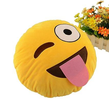 comodo Cojín Emoji Emoticon sonriente amarillo redondo almohada de peluche de juguete muñeca (beso)