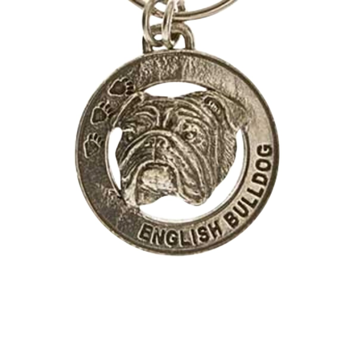 Creative Pewter Designs, Pewter English Bulldog Key Chain, Antiqued Finish, DK072