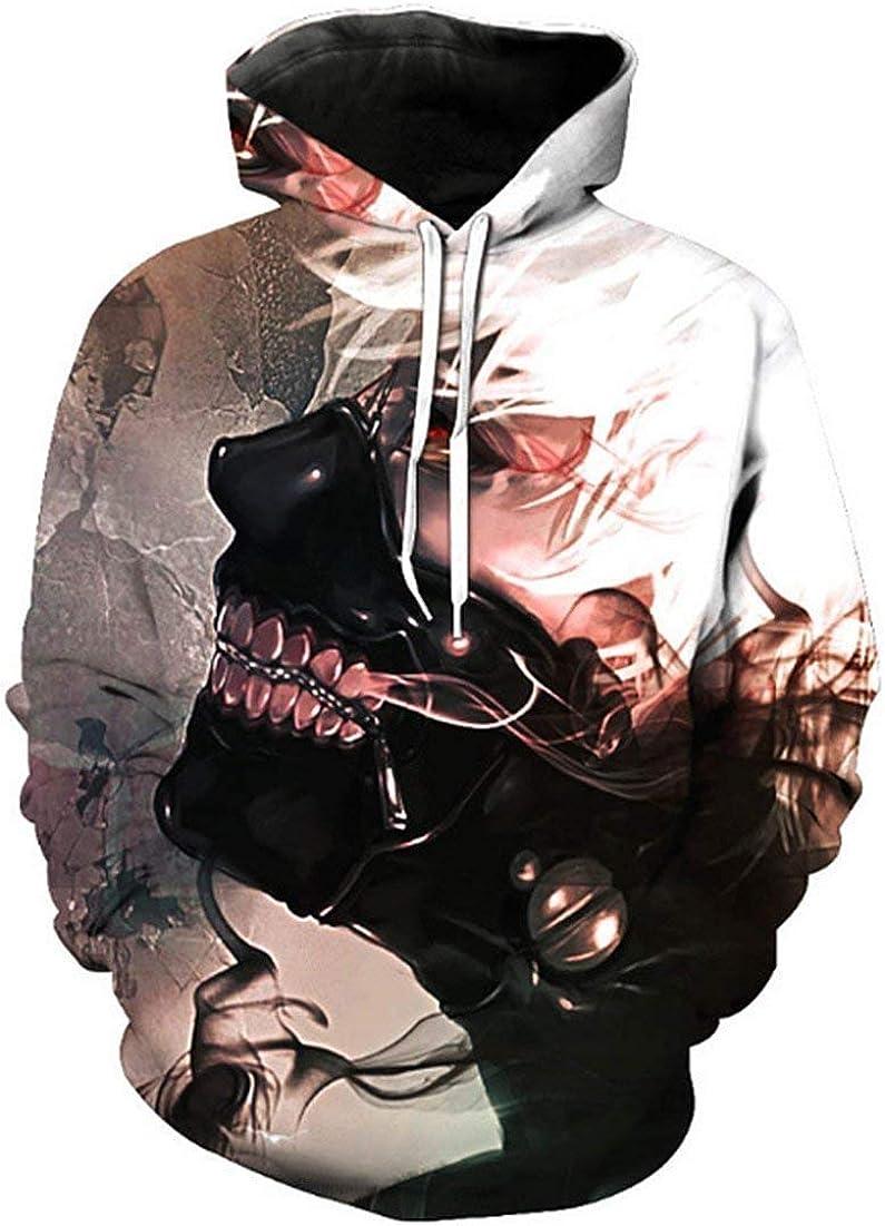 Felpa con Cappuccio da Uomo Tokyo Ghoul 3D A Classiche Maniche Lunghe Pullover Unisex Autunno Inverno Moda Casual Allentato Streetwear Felpe con Cappuccio Felpa con Cappuccio Ragazzi