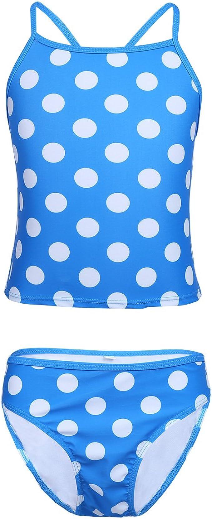 easyforever Kids Girls 2PCS Tankini Swimsuit Heart Shaped Printed Crop Top with Short Set Swimwear Beach Wear