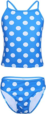 TiaoBug Girls Summer Polka Dots Swimwear Swimsuit Two-piece Top& Bottoms Tankini Set