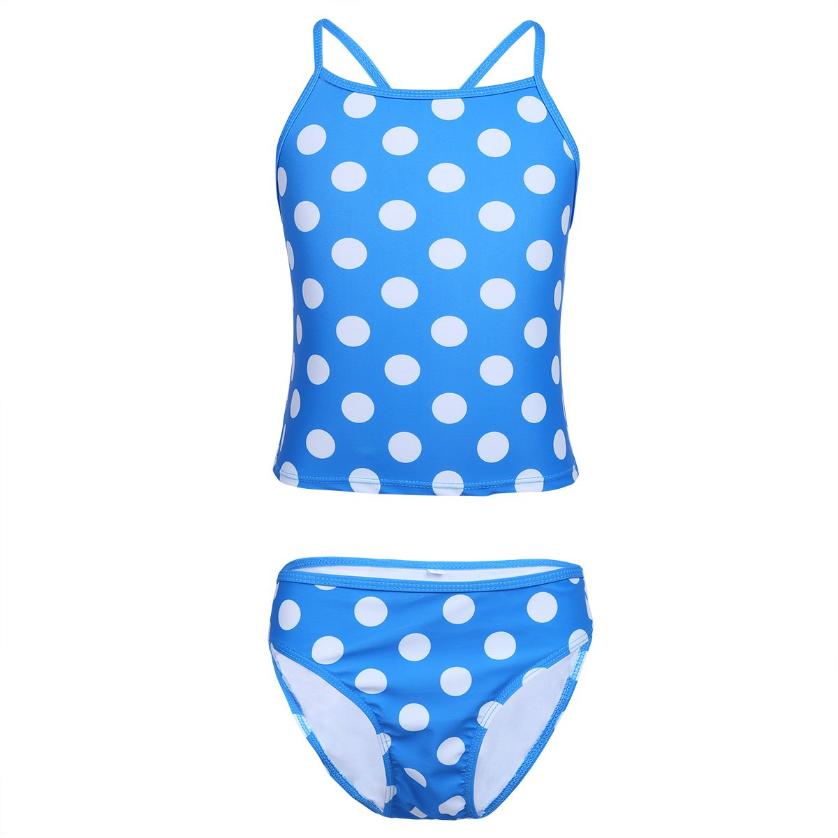 Saymequeen 3-15 Year-Old Girls Wave Point Swimwear Ruffled Tankinis Summer Swimsuit