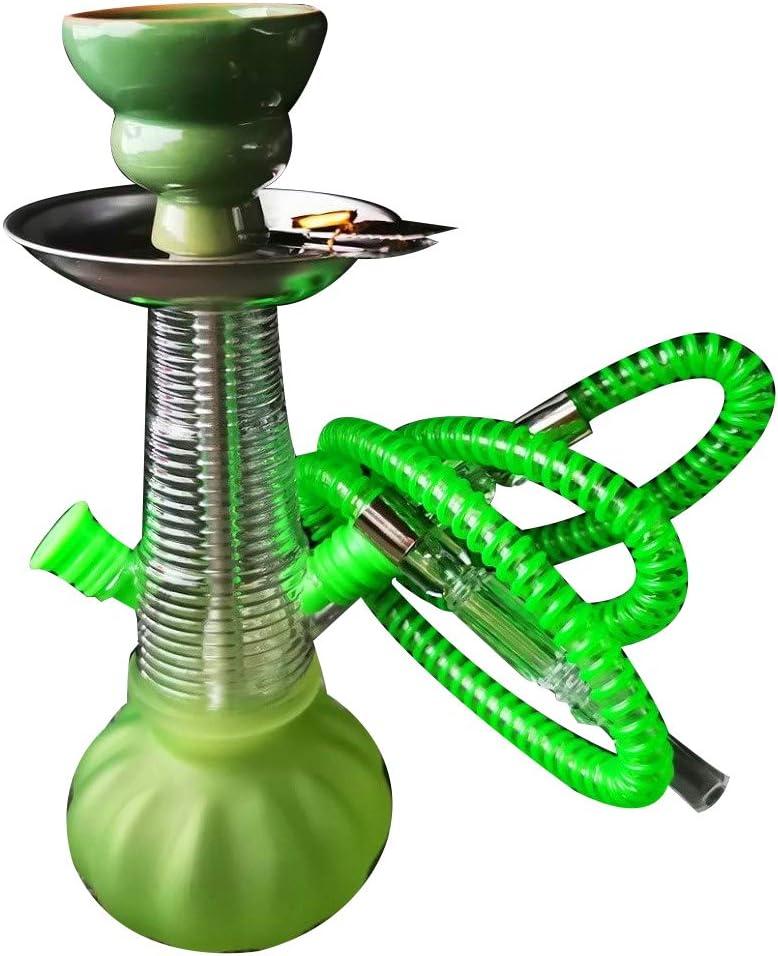 Juego Completo De Cachimba De 11 Pulgadas, Pequeño Kit De Shisha De 1 Manguera con Accesorios para Cachimba Clip De Carbono Y Lámina De Aislamiento Térmico,Verde