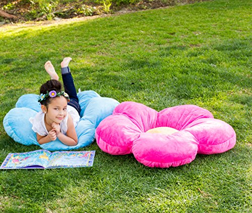 Girls Flower Floor Pillow Seating Cushion, for a Reading Nook, Bed Room, or Watching TV. Softer ...