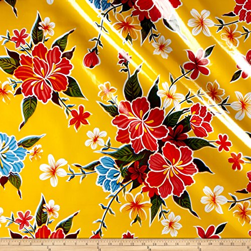 Oilcloth Hibiscus Yellow Fabric By The (Oilcloth By The Yard)
