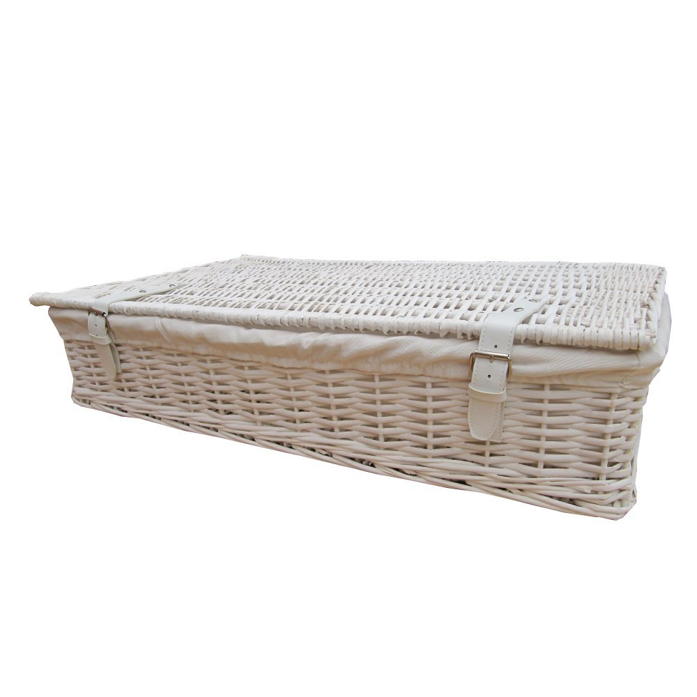 Home underbed storage baskets wicker underbed storage basket - White Wicker Underbed Storage Baskets Large Amazon Co Uk Kitchen Home