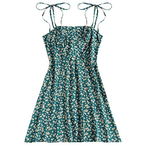 ZAFUL Women's Mini Dress Tie Spaghetti Straps Sleeveless Floral Boho Beach Dress Greenish Blue-B L