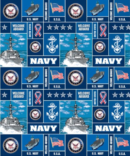Military Navy Fleece Fabric - Sold By the Yard