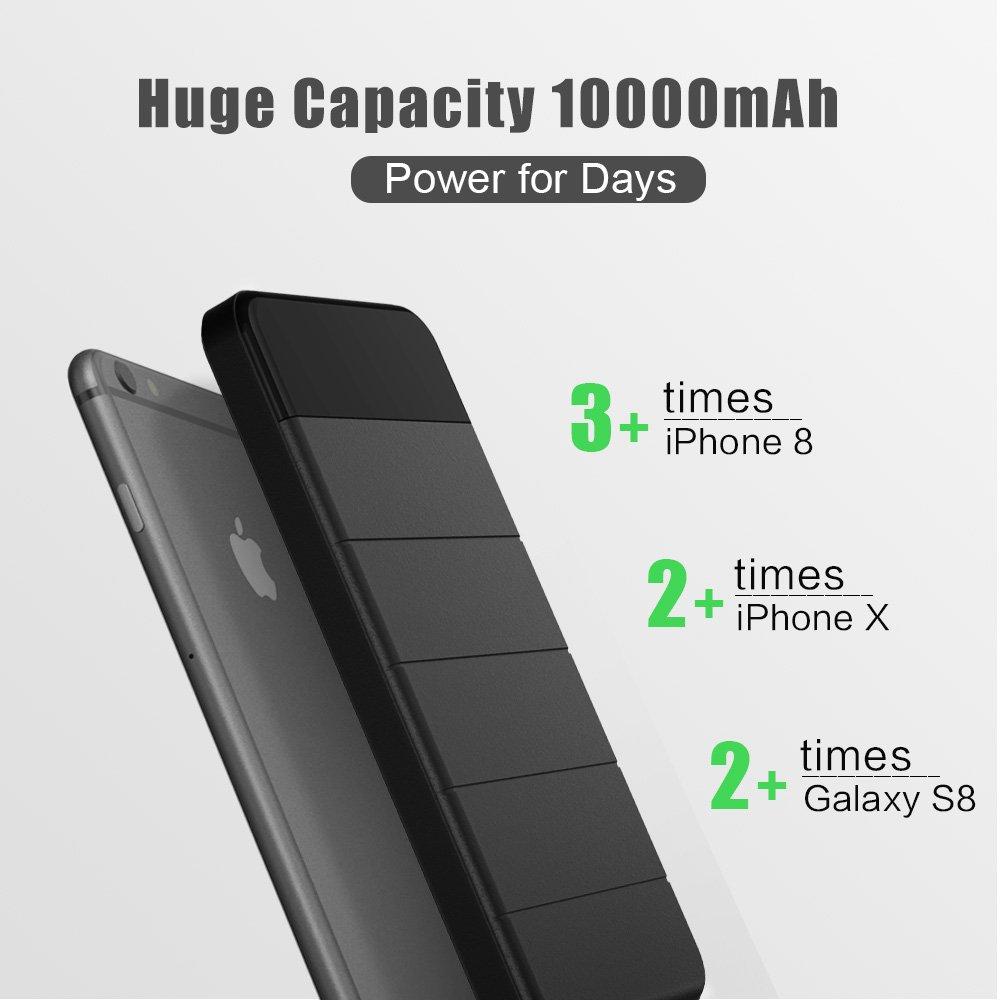 Viaggio Samsung iPad Batteria Esterna Power Bank X-DRAGON 10000mAh Impermeabile Staccabile Caricatore Pannelli Solare con Luce LED per iPhone Campeggio