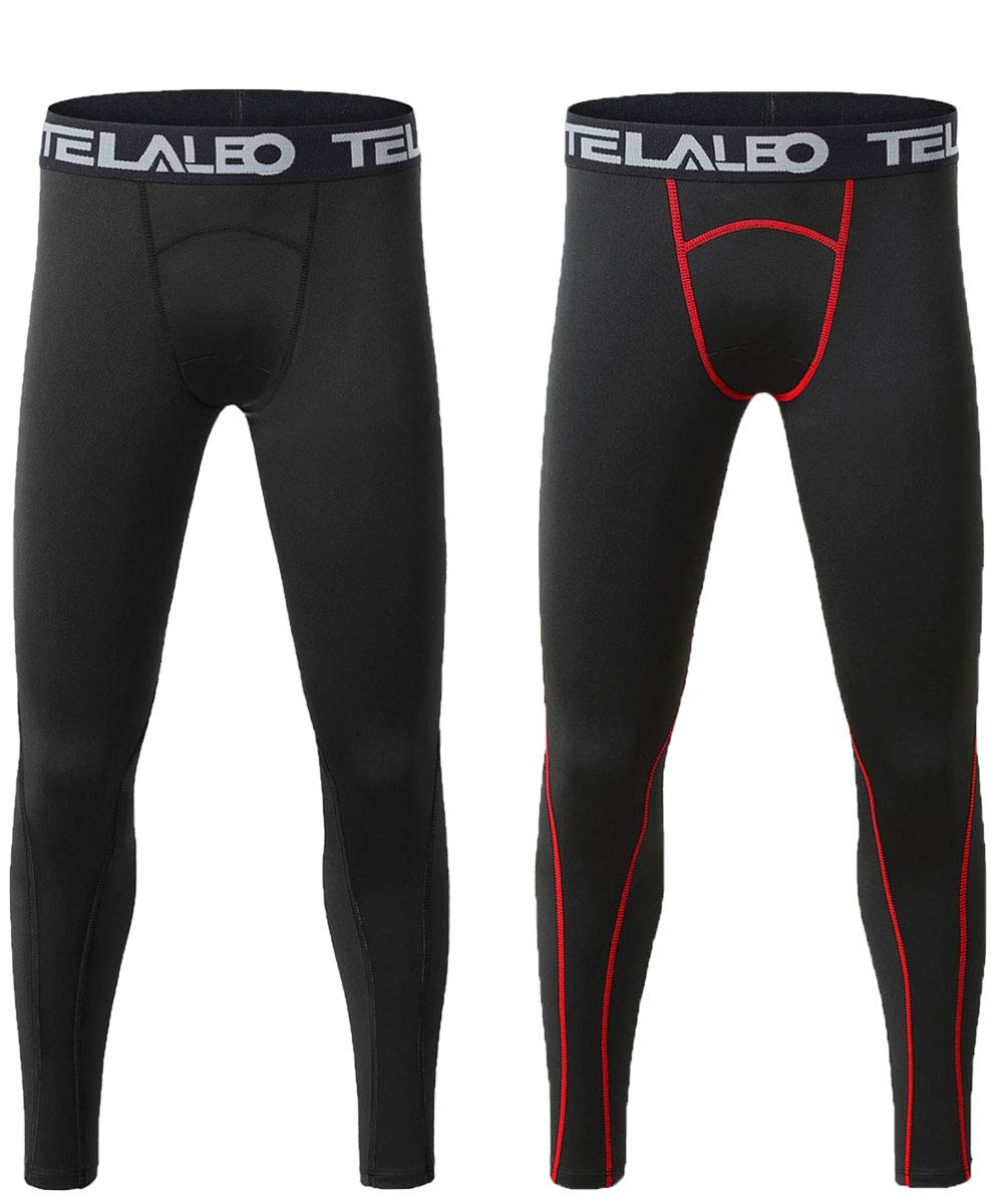 TELALEO Boys' Youth Compression Base Layer Pants Tight Running Leggings Trousers 2pcs M by TELALEO