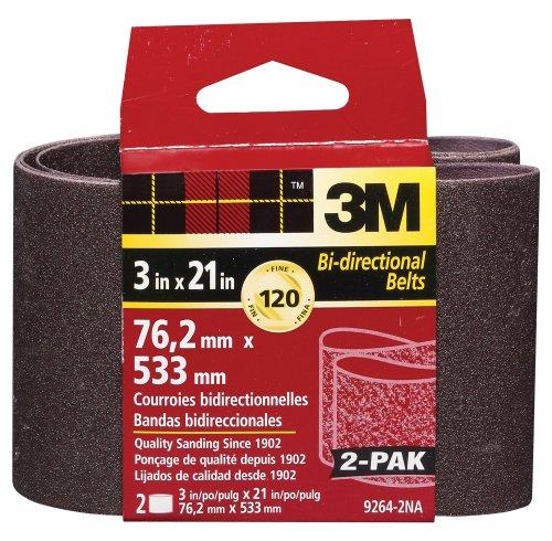 3M 9264NA Heavy Duty Power Sanding Belts - Fine, 120g, 3-Inch by 21-Inch 2-pack