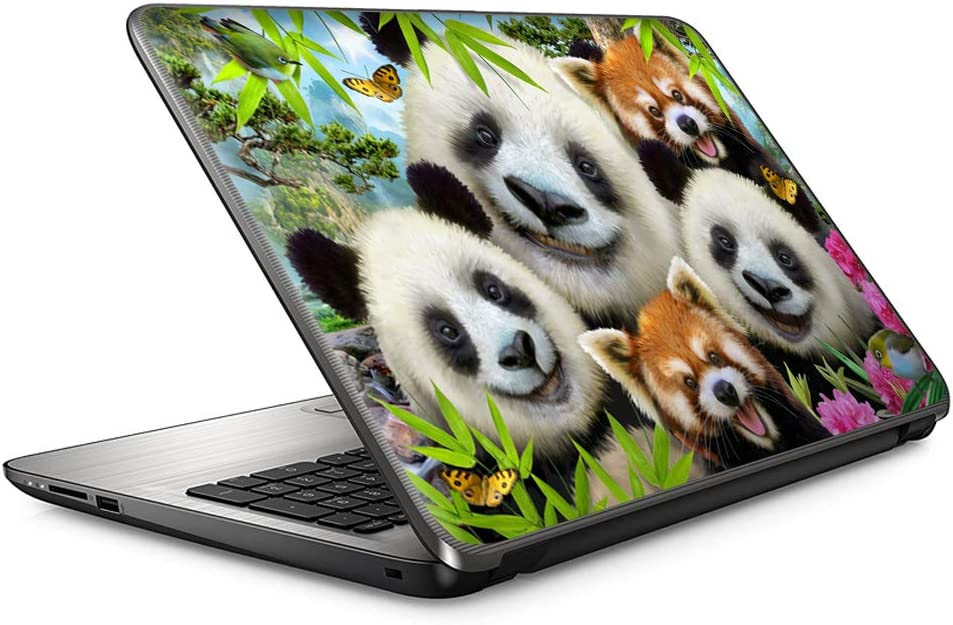 Selfie Panda Parade - 15 inches 15.6 inches Custom Fit Made to Order Laptop Notebook Skin Vinyl Sticker Cover Decal Fits HP Lenovo Apple Mac Dell Compaq Asus Acer