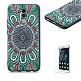 Funyye Relief Rubber Case for Huawei Mate 20 Lite,Stylish Mandala Pattern Soft Silicone TPU Gel Cover for Huawei Mate 20 Lite,Slim Fit Shockproof Non Slip Back Cover Smart Shell Protective Case for Huawei Mate 20 Lite + 1 x Free Screen Protector