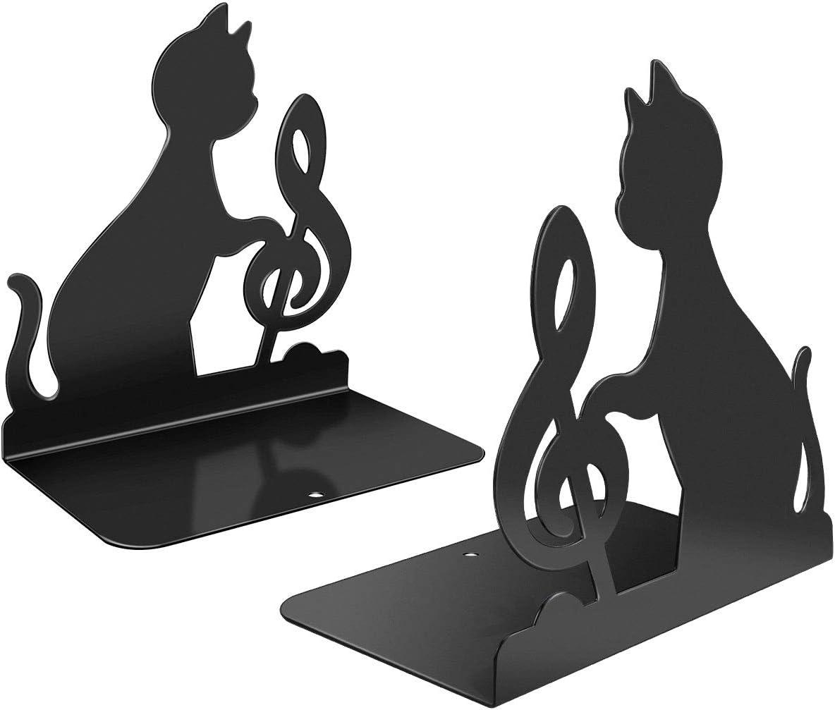 Powcan Sujetalibros de metal negro resistente de 1 par Diseño de nota musical de moda gato Separadores de libros para la biblioteca del dormitorio Material escolar Artículos de papelería