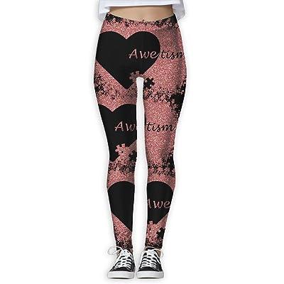 BVDFT MOERST Glitter Pink Autism Awareness Gift Womenâ€s Yoga Pants Tummy Control Workout Running Stretch Yoga Leggings