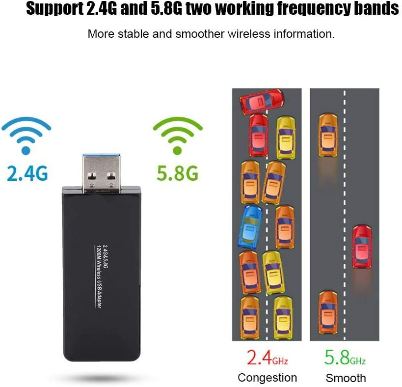 Tosuny Mini 1200Mbps WiFi USB Adapter 2.4G//5.8G Dual Band 802.11 ac//a//b//g//n Network USB 3.0 for Desktop of Windows