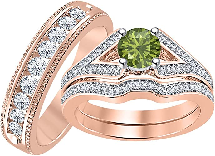 SVC-JEWELS 14k White Gold Plated 925 Sterling Silver Green Tourmaline Cluster Engagement Wedding Band Ring Mens
