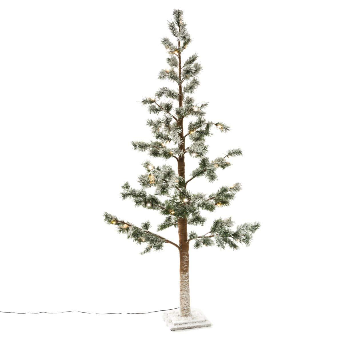 PuROTay Beleuchteter Tannenbaum Kiefer mit Kunstschnee 55 LEDs ca. 160 cm hoch