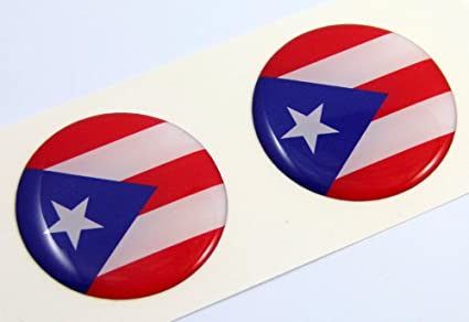 Puerto rico flag round domed decal 2 emblem car bike stickers 1 45
