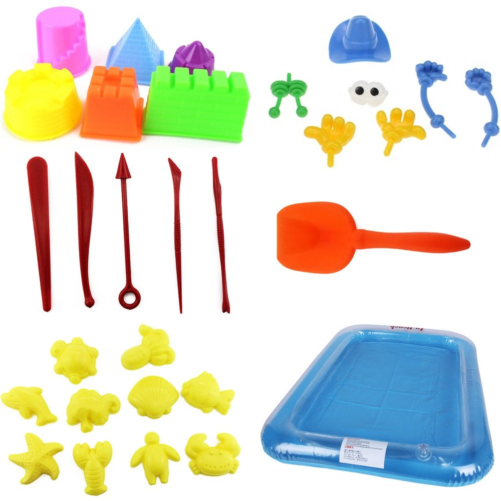 Use with Kinetic Sand 29PCS Sand Molds Kit with Portable Sand Tray Waba Sand Sand not included Moon Sand and All Other Molding Play Sand Brands - Sands Alive Brookstone Sand