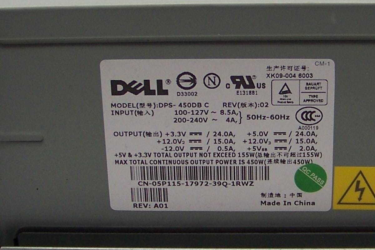 DELL DPS-450DB C REV.02 DELL 05P115-3 PWR SUPPLY 450W CN-05P115 REV.A01