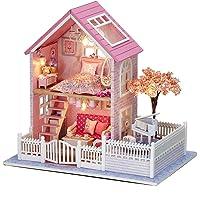 Modelo de ensamble de casa de Campo de Flores de Cerezo Rosada, Cabina de Bricolaje Modelo ensamblado a Mano con Muebles para niños Casa de muñecas Juguete para niños Regalo de cumpleaños