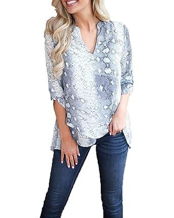 df82801f LIZHILI Womens Long Sleeve Snakeskin Print Blouse Shirts V Neck Asymmetric  Hem Wrap Casual Irregular Tunic