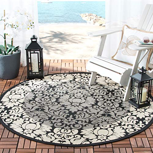 Safavieh Courtyard Collection CY2727-3908 Black and Sand Indoor/ Outdoor Round Area Rug (5'3