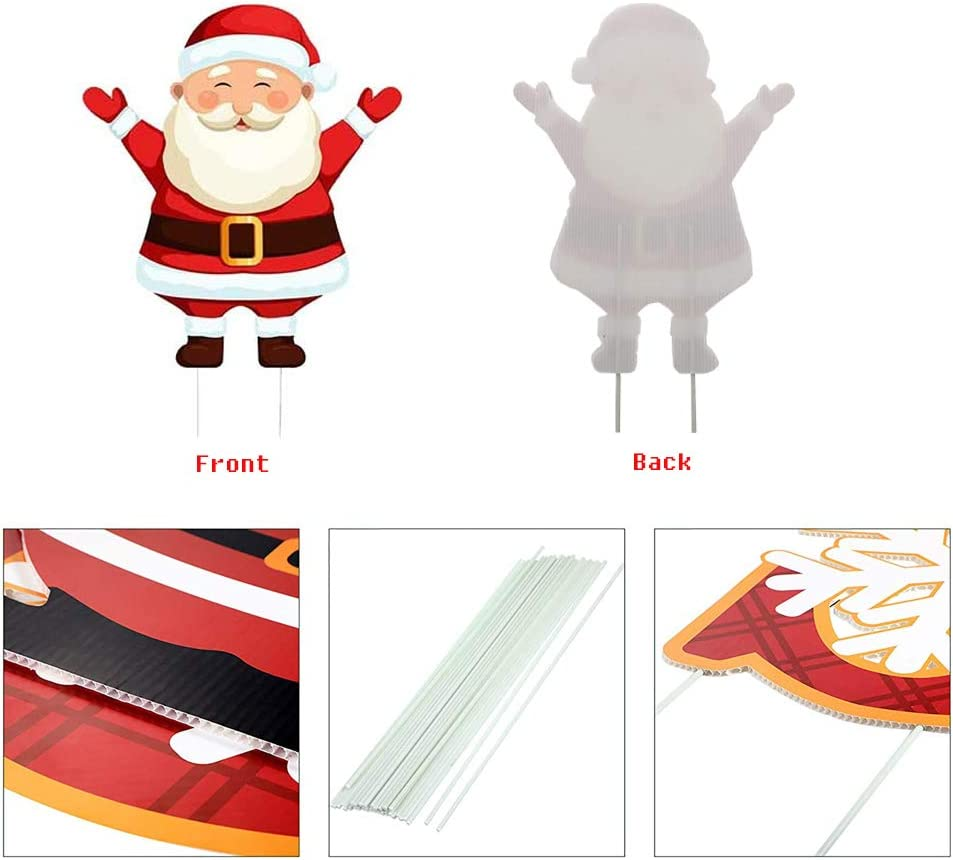 Zamy 5 Packs Christmas Yard Signs with Stakes for Lawn Yard Decorations Signs Xmas Winter Holiday Outdoor Lawn Decorations