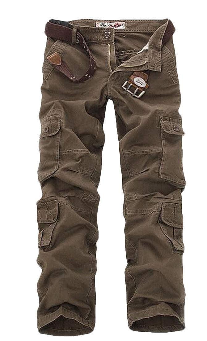 JXG Men Solid High Waist Multi Pocket Cargo Solid Straight Fit Pants