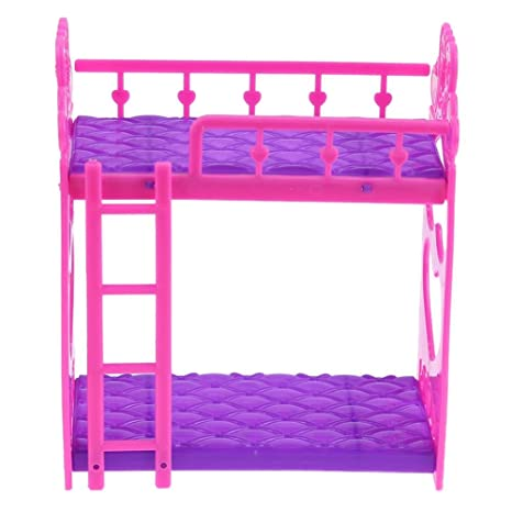 Letto A Castello Barbie.Buy Childplaymate 7pcs Cute Dolls House Furniture Plastic Bunk Bed