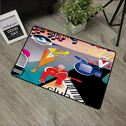 HRoomDecor Music,Custom Door mats Band of Stick Figures Performing on an Abstract Piano Jazz Club with Notes Background W 20