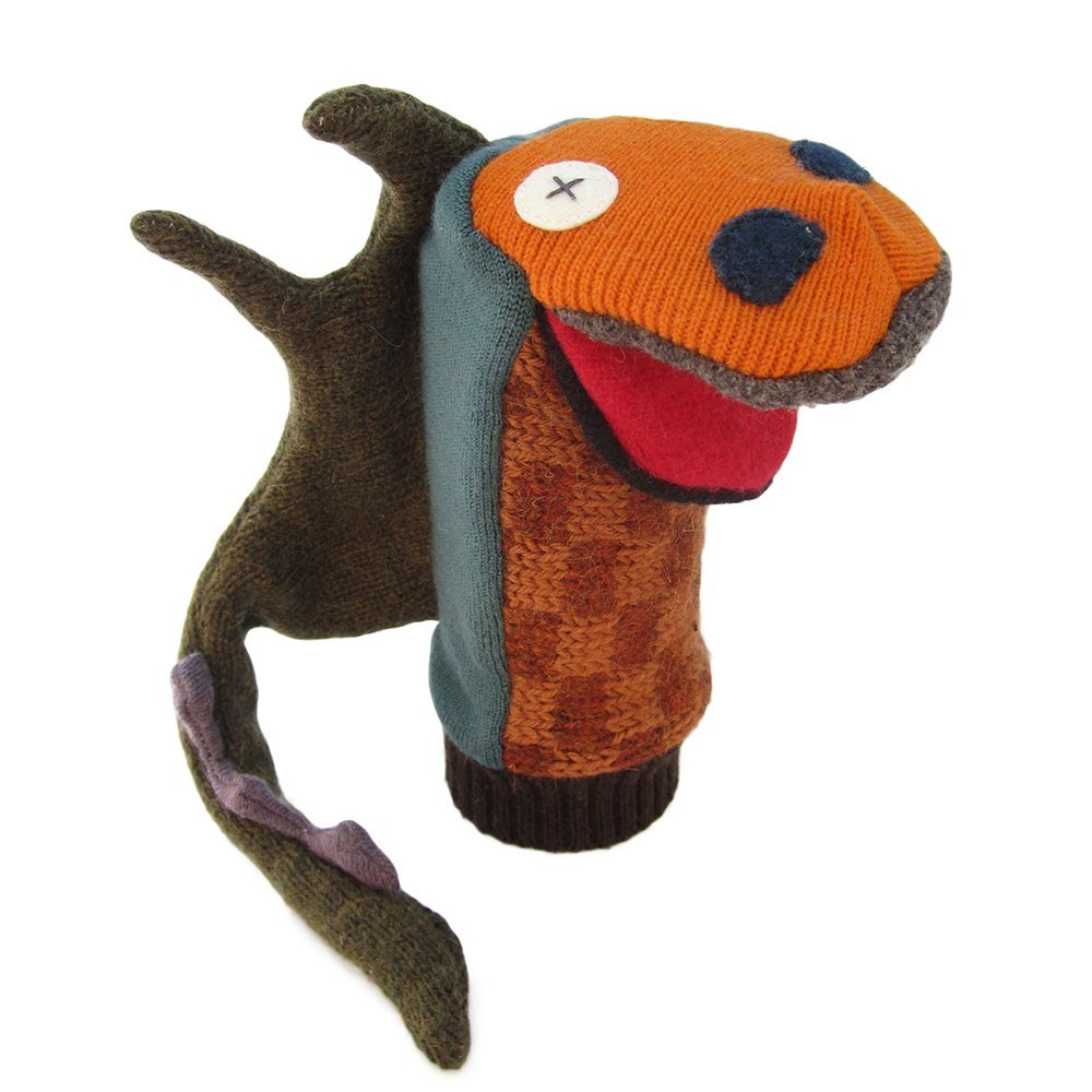 Cate and Levi 12'' Handmade Hand Puppet (Premuim Reclaimed Wool), Colors Will Vary (Dragon)