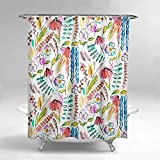 Bright Pink Shower Curtain Lume.ly - Colorful Cute Pink Flower Floral Watercolor Print Fabric Shower Curtain Set W/ 12 PREMIUM Stainless Steel Hooks Rings For Bathroom, Modern Design Bright Art Decor (Multi Color) (72x72 in)