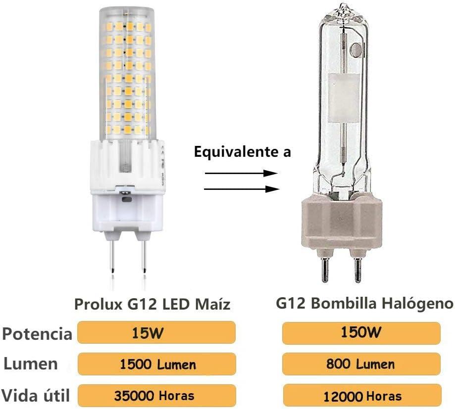 2x LED G12 Bombilla de Maíz 15W (Equivalente de 150W halógeno) con 1500lm Alto Brillo, Dos Pin Base G12 para iluminación del hogar, Centros Comerciales, Hotel, Cafetería, Museo(Blanco Cálido 3000K): Amazon.es: Iluminación