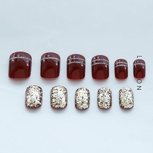 jovono Retro Full False Nail Tips Vintage corto falso uñas para las mujeres y las niñas (rojo + azul): Amazon.es: Belleza