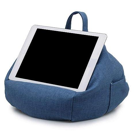 Almohada Tableta Cojín Cono Portátil Bolsa de frijol Imitación Titular de lino Para iPad Cónico Portátil Bolsa de frijol Imitación Cáñamo Coche Inicio ...