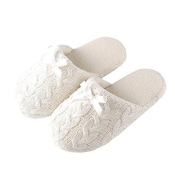 Tofern Damen/Mädchen Hausschuhe Pantoffel TPR Memory-Foam kuschelig weich rutschfest warm Schlafzimmer Wohnzimmer Büro Winter, Rosa EU 35-36