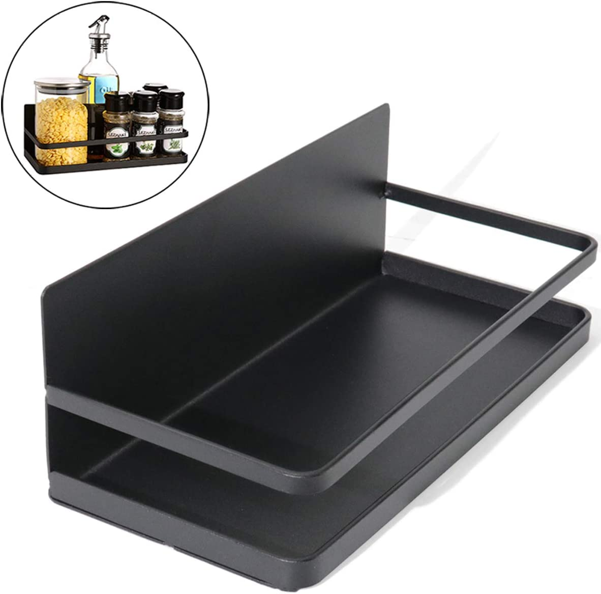 KOOTANS Magnetic Fridge Spice Rack Single Tier Spice Storage Shelf Organizer, Easy to Install on Side of Refrigerator, Hold Spices Jars Oils Small Things (Black, Single Tier Spice Rack)