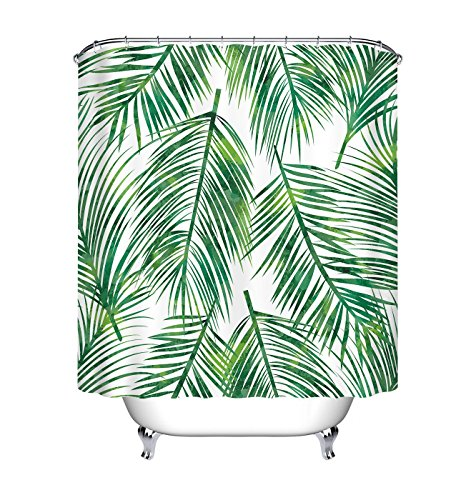 (LB Green Easter Palm Tree Leaves Artistic Shower Curtain for Bathroom, Tropical Plant Areca Clip Art Decor Curtain, Water Repellent Decorative Curtain, 70 x 70)