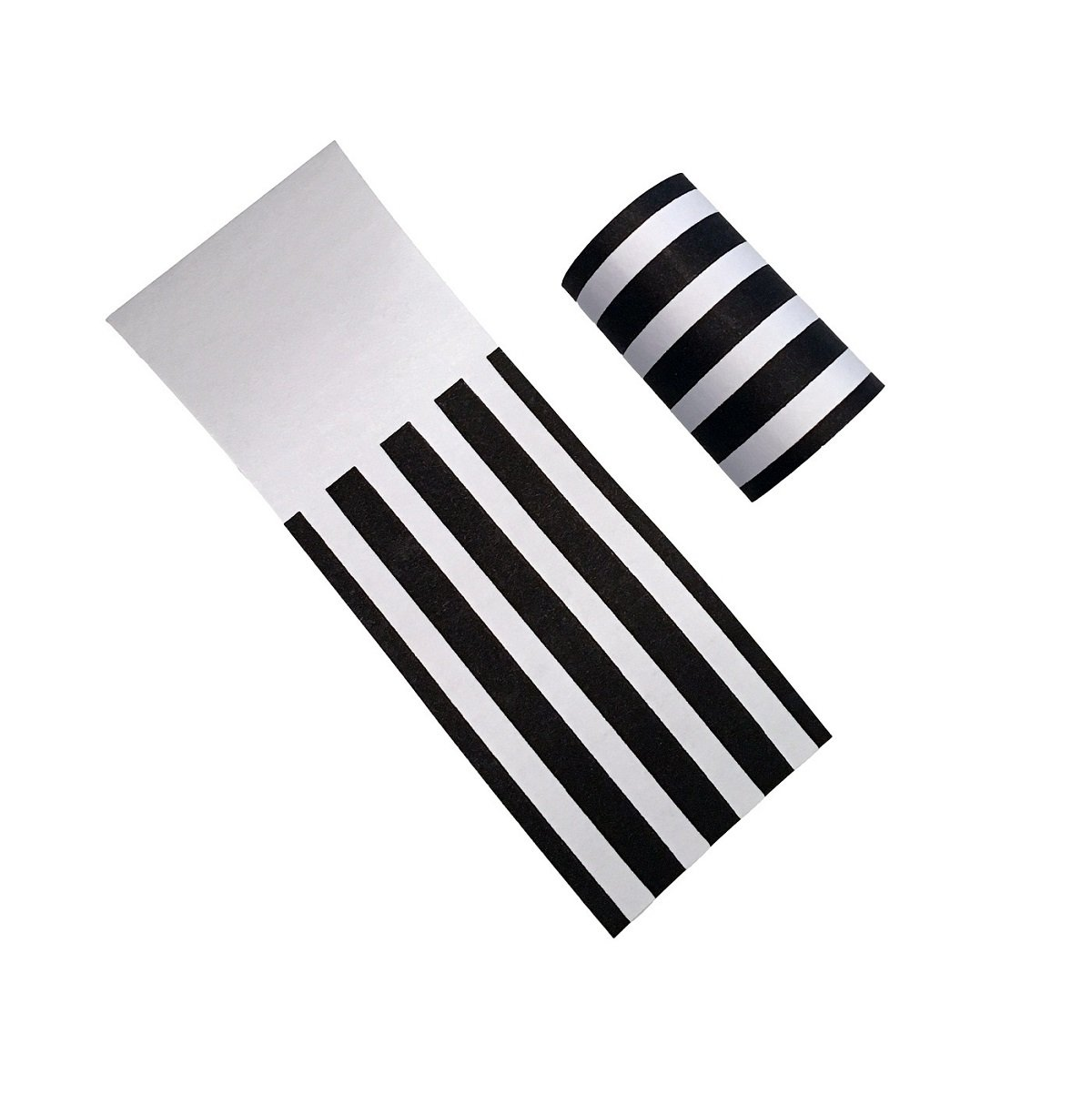 Pack of 40 The French Concept Decorative Self-Adhesive Paper Napkin Bands Compliment Black and White Party Supplies