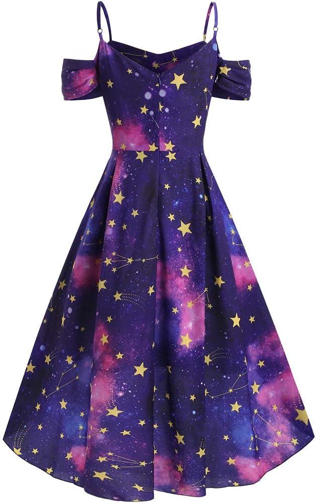 Vovotrade Vestido de Las Mujeres de la Galaxia del Hombro de la ...